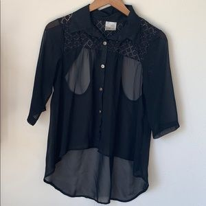 Black and Gold Chiffon Cutout Blouse